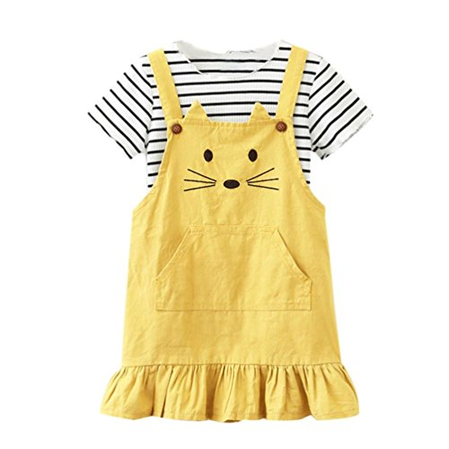 (Toddler Baby Outfits Set Kids Girl Striped T shirt Tops Cat Princess Skirt Dress (3T,)
