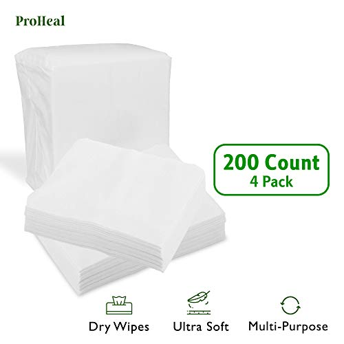 Disposable Dry Wipes, 200 Pack - Ultra Soft Non-Moistened Cleansing Cloths for Adults, Incontinence, Baby Care, Makeup Removal - 9.5 x 13.5 - Hospital Grade, Durable - by ProHeal
