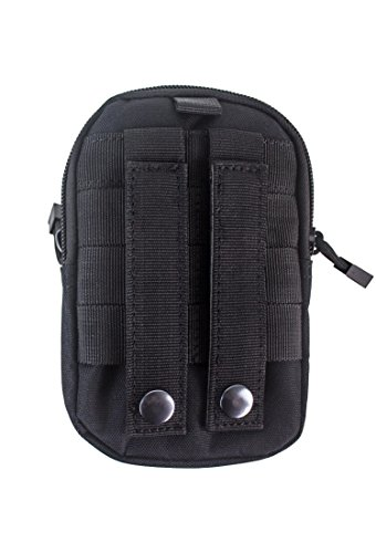 Akmax Multi-Purpose Military Molle Utility Pouch Bag Waist Belt Bag Wallet Pouch Purse Phone Case with Zipper (Black)