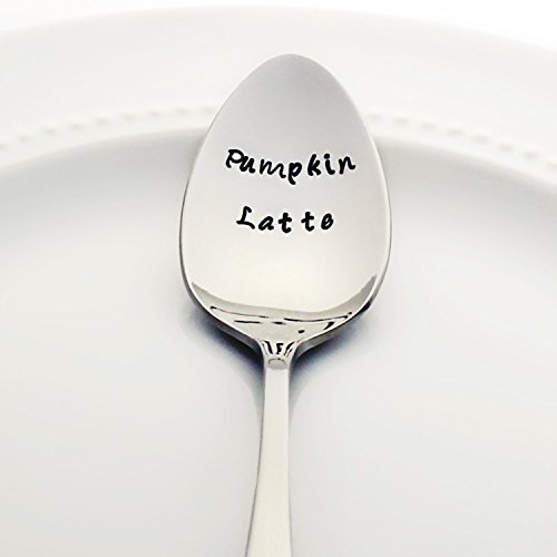Pumpkin Latte - Stamped Spoon, Stamped Silverware - Autumn Coffee Spoon - Cozy Gifts for Coffee Lovers
