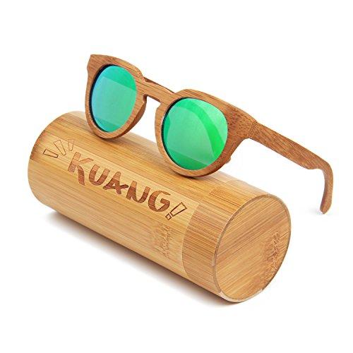 KUANG Wayfarer Bamboo Wood Sunglasses with Polarized - Sale For Sunglasses Good Wood