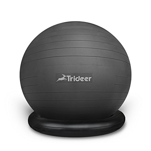 Trideer 65cm Ball Chair Flexible Seating Exercise Yoga Balancing Ball with Stability Ring & Pump, Great for Improving Balance &...  yoga ball with base | Yoga Ball Balance Trainer Yoga Fitness Strength Exercise Workout w/Pump Blue 41Mwn 88YWL