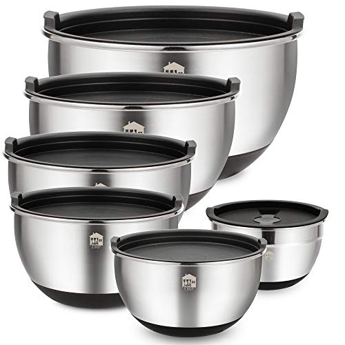 Wildone Stainless Steel Mixing Bowls, Nesting Bowls with Airtight Lids, Measurement Marks, Non Slip Silicone Bottoms, for Easy Mixing & Prepping - Set of 6 ()