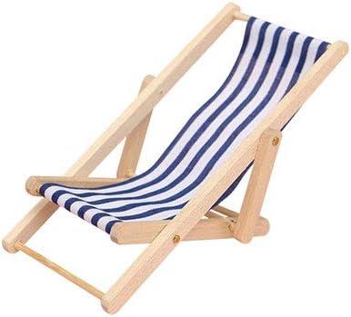 Miniature Beach Chair Toy House Mobili Accessori Pieghevole Mini Sedia a Sdraio a Righe del Prato Inglese in Legno per Dollhouse Blu 1pc