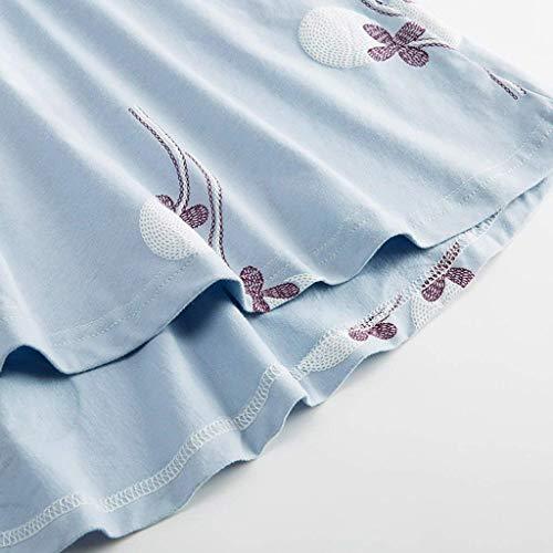 Redondo El Asimetricas Camison De Basic Camisón Informales Vestido Dormir Primavera Manga Larga Ropa Otoño Blau Hogar Fashion Impresión Noche Cuello Elegantes Para Mujer FSPqq