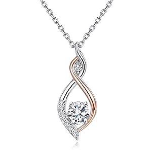 Van Chloe Collier en argent sterling 925 pour femmes amour infini en or rose pendentif plaqué or blanc CZ diamant…