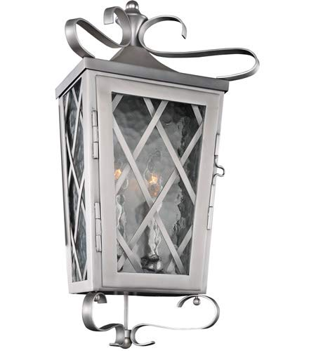 Kalco 402220SL Trellis - Two Light Outdoor Wall Pocket Sconce, Stainless Steel Finish with Clear Glass