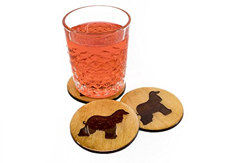 "Premium Afghan Greyhound Coasters - 4 Handmade Engraved 3.5"" Round Wooden Natural Home Animal Decor"