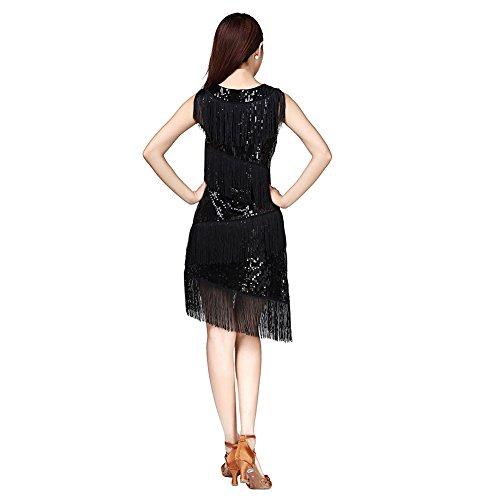 de Tango Concurso de Negro ESHOO Rumba Samba Vestido la Lentejuelas Baile Traje Danza Tassle latín Laties Y6z7q6Tfa