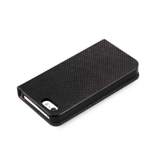 Zenus Pixel Leder Diary Case/Tasche Schwarz für Apple iPhone 5/5S