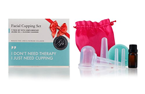 Facial Cupping Massage Therapy 7-Pc Set - Improve Bloodflow & Skintone, Increase Collagen Production & Reduce Fine Lines Around Eye & Face - BONUS Essential Oil & Silicone Cleansing Brush