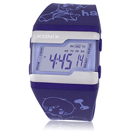 Children's large square face jelly watch,Multi-function digital electronic Led 100 m waterproof calendar alarm stopwatch girls or boys fashion wristwatch-C by CDKIHDHFSHSDH (Image #1)
