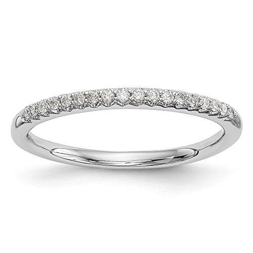 JewelrySuperMart Collection 1/8 CT 14k White Gold Round Diamond Wedding Band. 0.12 - Shank Lockshank