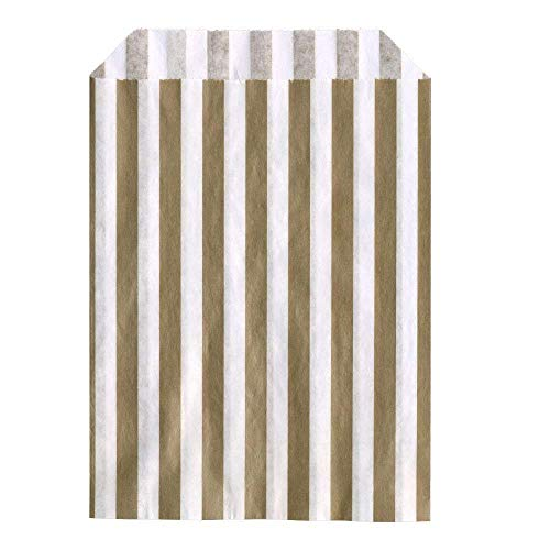 bag it Paper Gold Candy Stripe Paper Bags Recyclable and Biodegradable 10″ x 14″ / 250mm x 350mm – (Pack of 50)