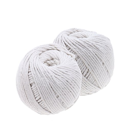 Regpre 200m Natural Cotton 3mm White Macrame Cord for Macrame Wall Hanging Decor DIY Craft Making Knitting Cord Rope Set of 2
