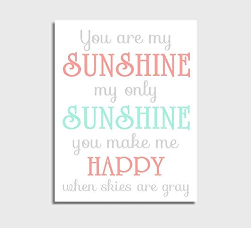 (Coral Canvas Baby Girl Nursery Wall Art Mint You Are My Sunshine Baby Nursery Decor)
