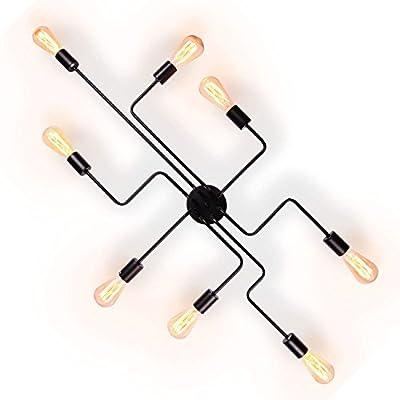 Industrial Vintage Metal Ceiling Light, Lumans Creative Retro 8-Light Fixture Chandeliers Semi Flush Mount Pendant Lamp (Black)