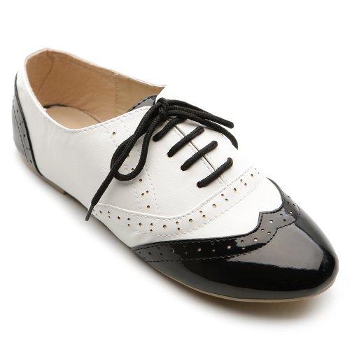 Ollio Womens Shoe Classic Lace Up Dress Low Flat Heel Oxford M1914 (8.5 B(M) US, Black-White)