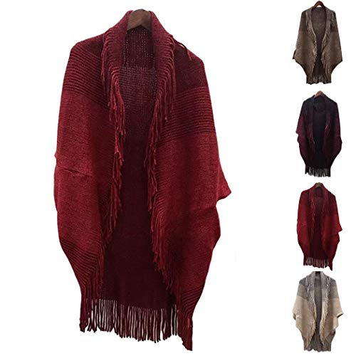 Cascat Women Casual Batwing Sleeve Warm Tassel Wrap Shawl Autumn Winter Cold Weather Scarves Wraps