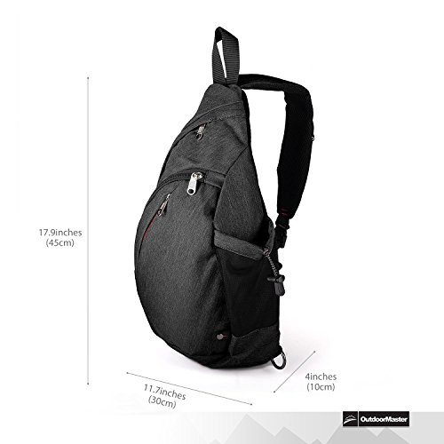 OutdoorMaster Sling Bag - Crossbody Backpack for Women & Men (Black)