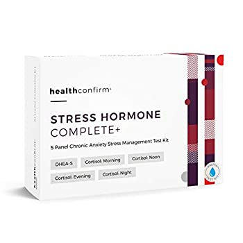 Image of HealthConfirm - Stress Hormone Complete - at-Home Test Kit - 5 Panel Full Day Chronic Anxiety Stress Saliva Test Clinical Diagnostic Test Kits