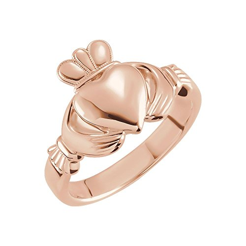 14k Rose Gold 8.5mm Claddagh Ring - Size 6