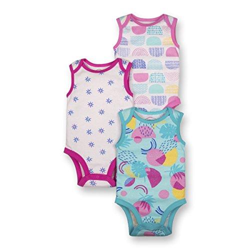 Sleeveless Bodysuit Girls (Lamaze Baby Girls Organic 3 Pack Sleeveless Bodysuits, White, 12M)