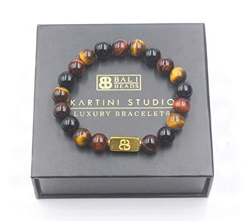 (Mixed Tiger's Eye, Black Onyx, and Gold Vermeil Beads Bracelet)