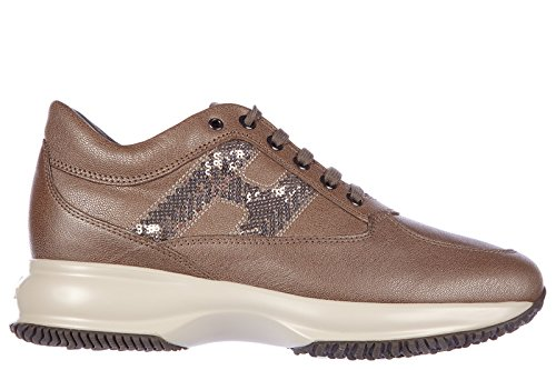 Hogan chaussures baskets sneakers femme en cuir interactive h paillettes marron