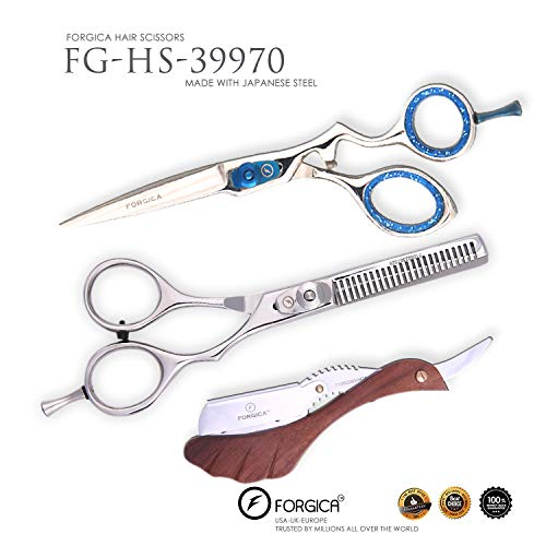 Professional Barber/Salon Razor Edge Hair Cutting Scissors/Shears with Fine Adjustable Tension Screw - Detachable Finger Rest - Japanese Stainless Steel - by Forgica -
