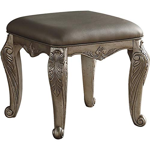 Acme Northville Faux Leather Vanity Stool in Antique Silver (Woods Northville)