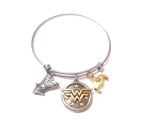Wonder Woman Bracelet Charm Bangle Expandable Stainless Steel Bracelet Super hero Bracelet, Mothers day , Gold Silver DC Comics Justice League