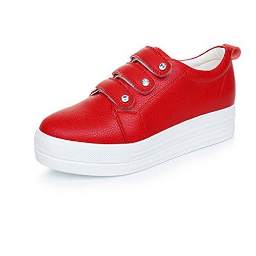 Chaussure Femme à Compensé Haute Basket Casual Plat sans Rouge Lacets Cuir TaqCaHdw