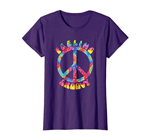 Womens Vintage 1970s Tie Dye Feeling Groovy Peace Sign T-Shirt Large Purple