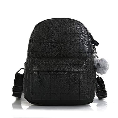 Black Backpack Hair Ball Ball Pendant Shoulder Bag Female Bag Sweet Lady Female Backpack Folds Travel Bag (color   Black)
