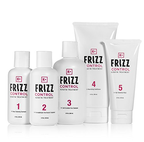 Keratin Treatment - Hair Straightening Home Kit comes w/ Keratin Hair Shampoo, Conditioner, and Hydration Mask. For all Hair Types, Formaldehyde & Paraben Free - by K+ Frizz Control