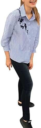 ELINKMALL Women Elegant OL Embroidery Turn-down Casual Blue Striped Long Sleeve Blouse Tops