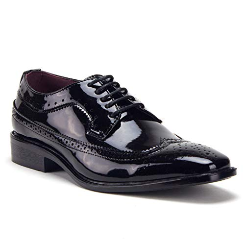 Men's Patent Formal Wing Tip Lace Up Oxford Dress Shoes, Black, 12 -