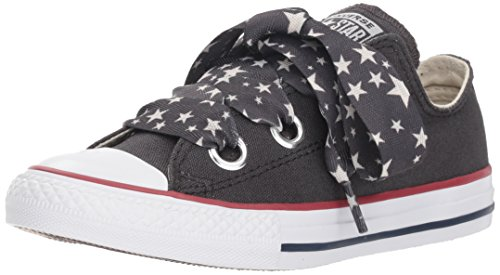 Youth Low Top Shoes - Converse Girls' Eyelet Star Lace Low Top Sneaker, Almost Black/Driftwood/White, 1 M US Little Kid