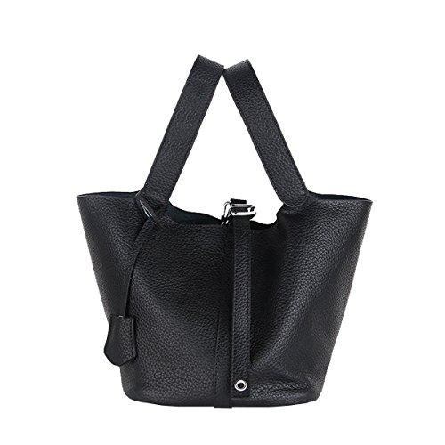 E-Girl LF-8098 Sac à main fashion en cuir femme Sac portés main Sac bandoulière Noir