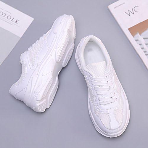 SHI Zapatillas Deportivas Blancas de Verano para Mujer Zapatillas Deportivas Transpirables con Cordones para Mujer (Color : Blanco, Tamaño : 39): Amazon.es: Hogar