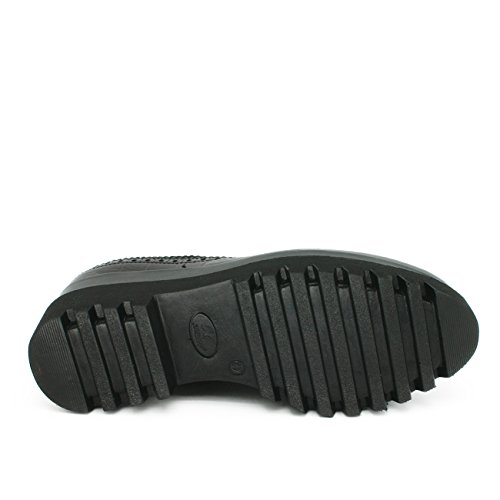 Mujer Suela Camel Combinado Color Zapato Cordones En Ante Negro Forrado O Beige Oxford Piel Interior De Gruesa Marrón Tipo 1qqwX
