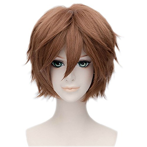 Wgior Anime Natural as Real Hair Styled Synthetic Halloween Cosplay Costume Party Daily Short Wigs (brown12)]()