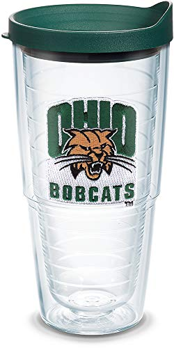 - Tervis 1082381 Ohio Bobcats Logo Tumbler with Emblem and Hunter Green Lid 24oz, Clear