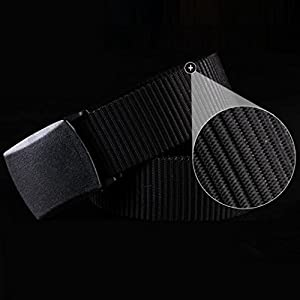 "Leedford Men's Canvas Web Belt, Mens Outdoor Plain Canvas Waist Belt Adjustable Big and Tall 43.4"" Long (43.4'', Black)"