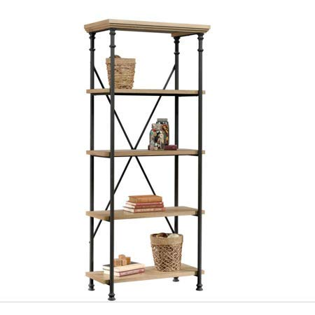 Home Office 5-Tier Ample Sized Open Storage Bookcase, Sturdy Wood Constructed Adjustable Shelves and Durable Powder Coated Metal Frame, Rear Crossbars for Enhanced Stability, Rustic Oak Finish