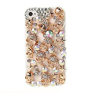 Skull with Rhinestone Pattern Plastic Case and TPU Frame for iPhone 4/4S , Golden