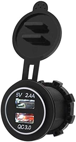 Iycorish 高速充電3.0 USB充電器ソケットIP66防水デュアルUSB車の電源コンセント、QC 3.0 USBポート&2.4Aポート、LEDライト付き、カーボートマリンRvオートバイ用(ホワイト)