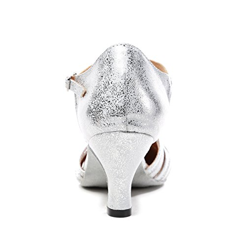 T GL259 Party MINITOO 3 Strap Latin Women's Dance Shoes Ballroom Pumps 5 Synthetic Silver UK Fashion xExPawq