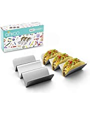 GINKGO Taco Holders, Stainless Steel Taco Holder Stands Set of 2, Each Taco Stand Rack Holds Up 2 to 3 Soft & Hard Shell Tacos , Dishwasher & Oven & Grill Safe